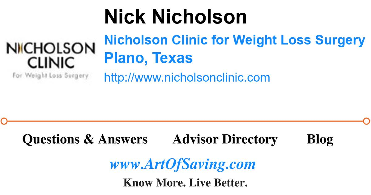 Nick Nicholson Nicholson Clinic For Weight Loss Surgery Plano